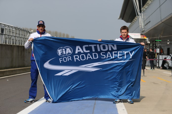 Sebastien Buemi (SUI) and Anthony Davidson (GBR) with Action for Road Safety. Toyota Racing TS040 World Endurance Championship. 6 Hours of Silverstone 9th-12th April 2015. Silverstone, UK
