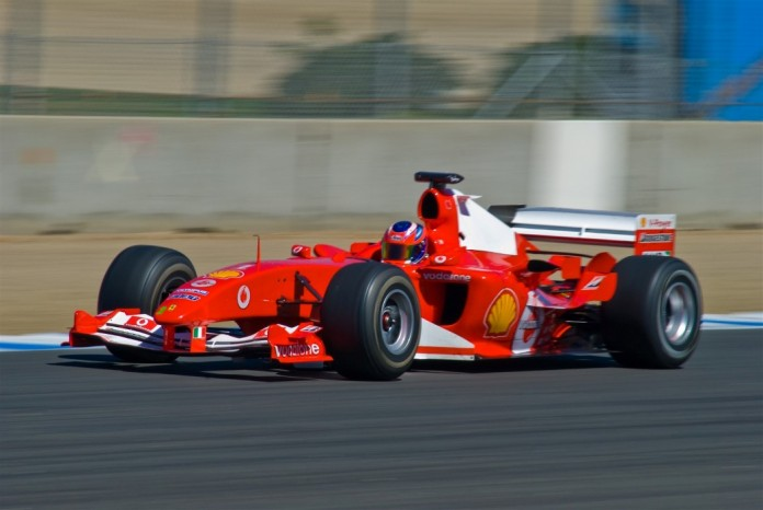 Schumacher F2004 F1 car at Laguna Seca, Aug 2008