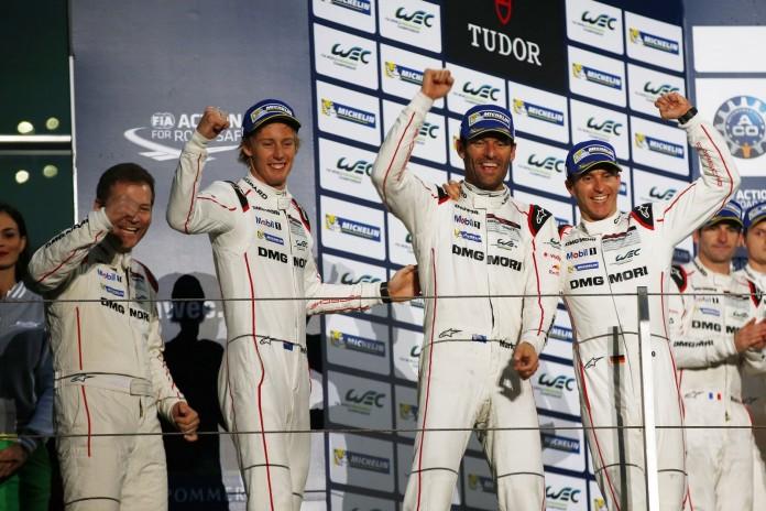 Andreas Seidl, Teamchef Porsche Team, Porsche Team: Brendon Hartley, Mark Webber, Timo Bernhard (l-r)