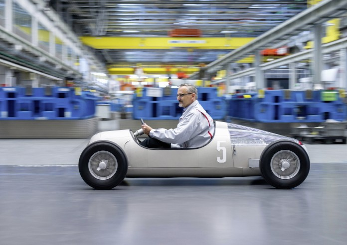 """With a 3D printer, Audi Toolmaking has produced a model of the historical Grand Prix sports car """"Auto Union Typ C"""" from the year 1936 on a scale of 1:2. For this purpose, a selective-sintering laser melted layers of metallic powder with a grain size of 15 to 40 thousandths of a millimeter. The process therefore allows the production of components with complex geometries, which with conventional methods could either not be produced or only with great difficulties."""