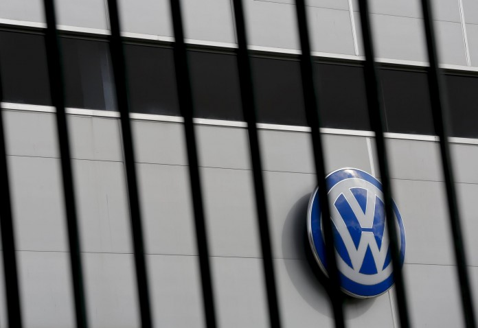 A logo of VW is pictured at a Volkswagen dealership in Camas