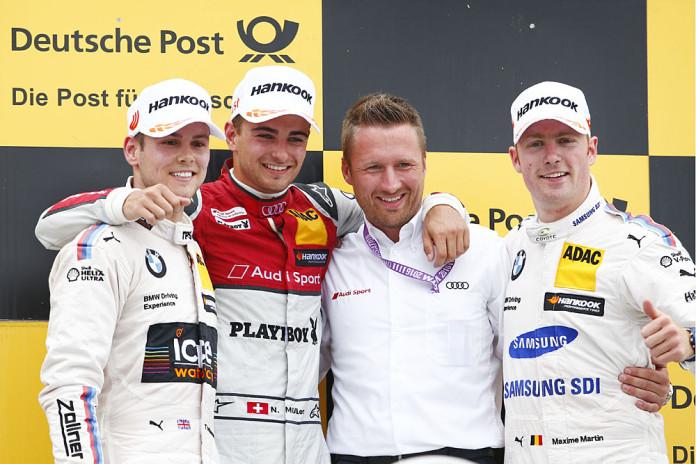 #31 Tom Blomqvist, BMW M4 DTM, #51 Nico Müller, Audi RS5 DTM, #36 Maxime Martin, BMW M4 DTM
