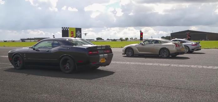 Dodge Challenger Hellcat vs Porsche 911 Turbo S vs Nissan GT-R