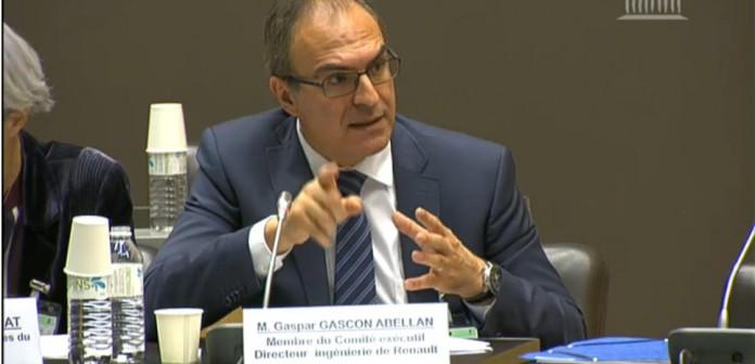 Gaspar Gascon Abellan, directeur de l'ingénierie Renault devant la mission d'information de l'Assemblée nationale sur l'offre automobile française, le 5 avril 2016.