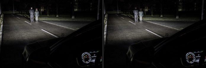 DIGITAL LIGHT: Die neue HD-Beamer-Technologie von Mercedes-Benz erkennt über die Sensoren im Fahrzeug andere Verkehrsteilnehmer und kann die Lichtverteilung optimal an die Umgebung anpassen. Dabei können die Köpfe der entgegenkommenden Verkehrsteilnehmer vom Lichtstrahl ausgespart werden, um so zuverlässig deren Blendung zu vermeiden. ; DIGITAL LIGHT: The new HD projector technology from Mercedes-Benz uses sensors on the vehicle to identify other road users and ideally adapt the light distribution to the environment. In this process, the heads of oncoming road users can be shielded from the light beam to reliably prevent dazzling them. ;