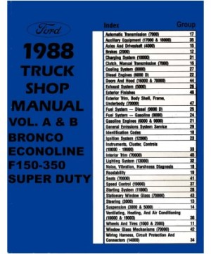 1988 FORD F150F350 LIGHT DUTY TRUCK & ECONOLINE Body, Chassis & Electrical Service Manual