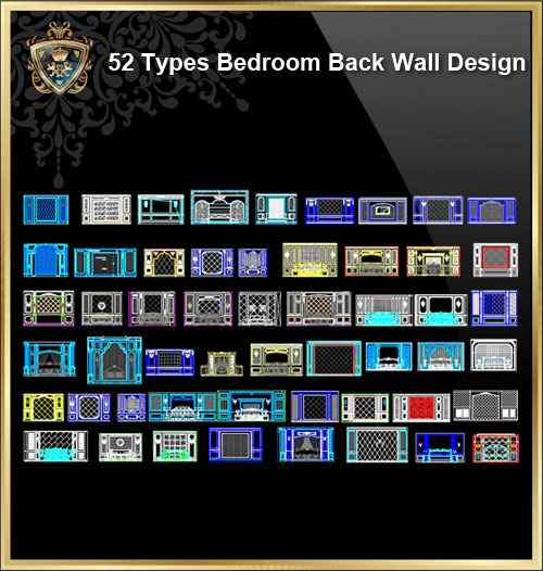 52 Types Bedroom Back Wall Design - Autocad Design Pro-Autocad  Blocks,Drawings Download