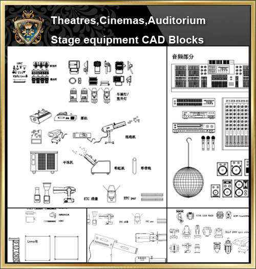 ★【Auditorium ,Cinema, Theaters CAD Blocks-Stage Equipment CAD  Blocks】@Cinema Design,Autocad Blocks,Cinema Details,Cinema Section,Cinema  elevation
