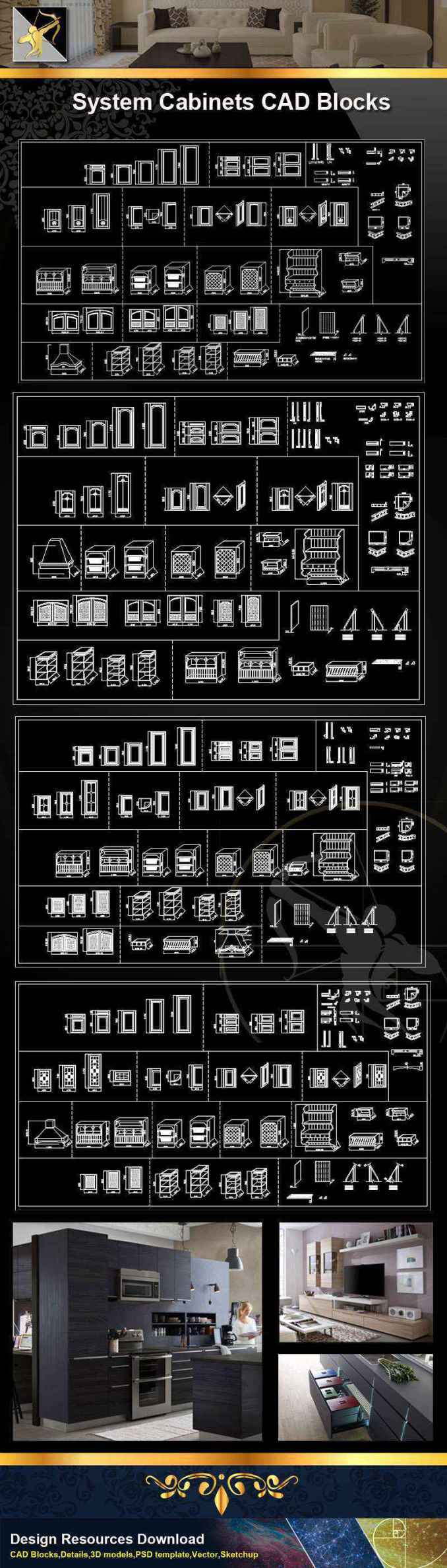 ★【 System Cabinets CAD Drawings V 1】@Autocad Blocks,Drawings,CAD  Details,Elevation