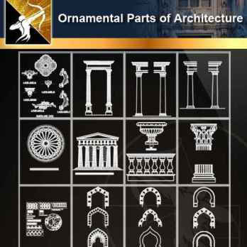★【Ornamental Parts of Architecture -Decoration Element CAD Blocks V.2】@Autocad Decoration Blocks,Drawings,CAD Details,Elevation