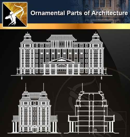 ★【Ornamental Parts of Architecture -Decoration Element CAD Blocks  V 4】@Autocad Decoration Blocks,Drawings,CAD Details,Elevation - Autocad  Design