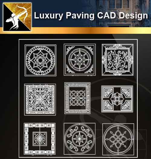 ★【 Luxury Ground Design-CAD Paving Blocks】@Autocad Decoration  Blocks,Drawings,CAD Details,Elevation - Autocad Design Pro-Autocad  Blocks,Drawings