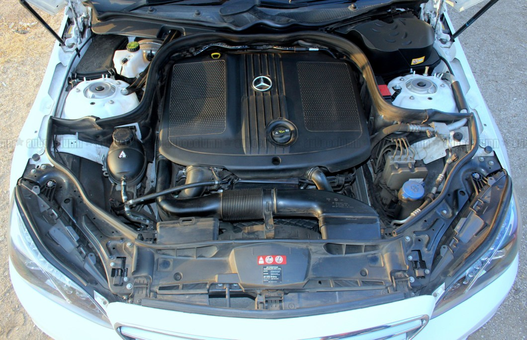 Big 2143 cc inline four diesel burner really fills up the engine bay. Noise insulation is good on the E250 CDI
