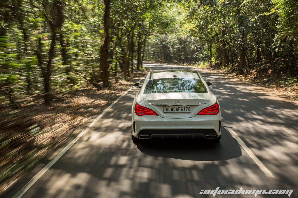 Mercedes Benz CLA45 AMG rear view in motion