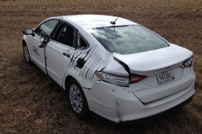 Plane Hits Ford Fusion Under Emergency Landing