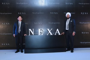 Kenichi Ayukawa, MD & CEO and R S Kalsi, ED, M&S Maruti Suzuki India Ltd, launch the NEXA