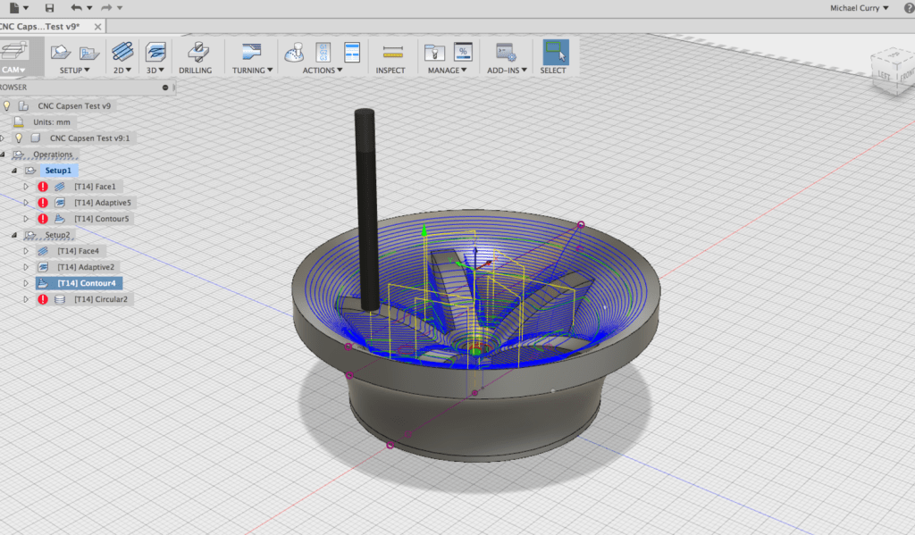 Contour toolpath displayed in CAM in Fusion 360.