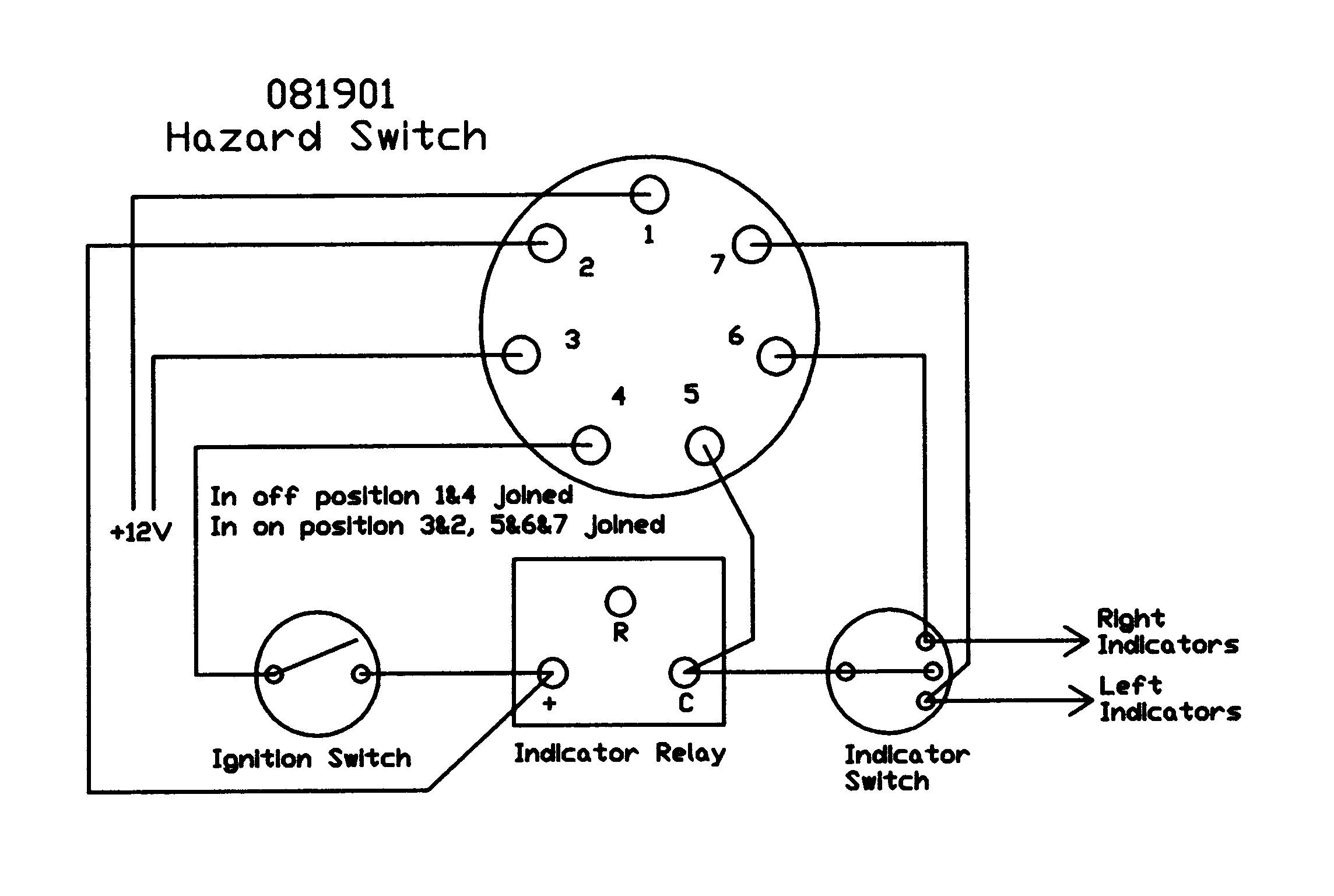 Panel Mounted Push On Hazard Switch
