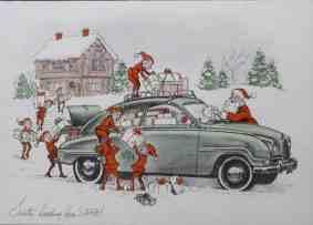 Ilustração antiga de um Saab com duendes carregando-o com presentes e o Papai Noel limpando o vidro