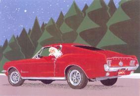 Ilustração do Papai Noel ao volante de um Mustang Fastback