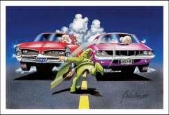 Ilustração, Papai Noel ao volante de um Pontiac GTO alinhado com a a Mamãe Noel ao volante de um Plymouth Barracuda com um duende dando a bandeirada de largada