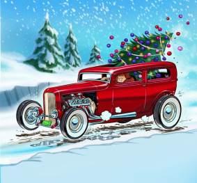 Hotrod levando árvore de Natal