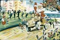 Ilustração, Papai Noel dirigindo um jipe e acenando para as pessoas