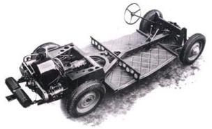 Chassi do T97 com motor de 4 cilíndros contrapostos