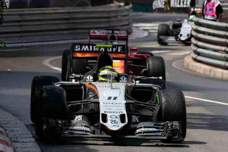 Sergio Perez conseguiu mais um pódio e resistiu aos ataques de Sebastian Vettel (foto Sahara Force India)