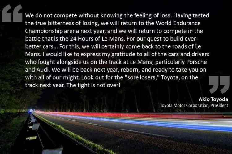 O comunicado de Akyo Toyoda, o presidente da Toyota (Foto ACO)