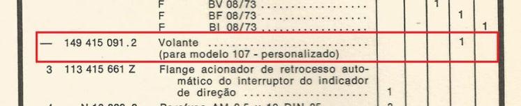 Detalhe do item relativo ao volante especial do VW 1600 TL Personalizado