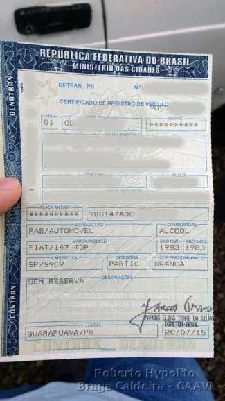 Certificado do Fiat que na verdade é um Fiat 147 C - Top existiu até 1982