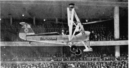 Nazi pilot Hanna Reitsch demonstrated the Fa-61 in the enclosed Deutschlandhalle sports stadium in Berlin in February 1938