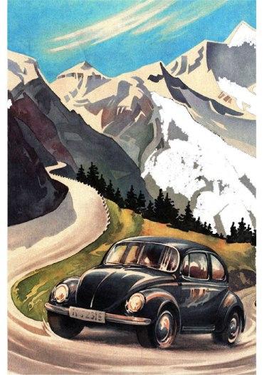 Capa do convite para os festejos de 60 anos do Fusca, inspirado na brochura, porém com um Super Beetle na estrada do Großglockner