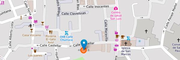 Mapa de los Talleres de A. Flamenca en Sevilla