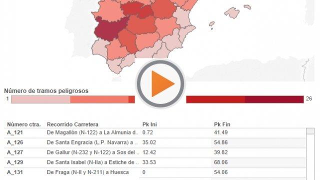El mapa con las carreteras más peligrosas de España