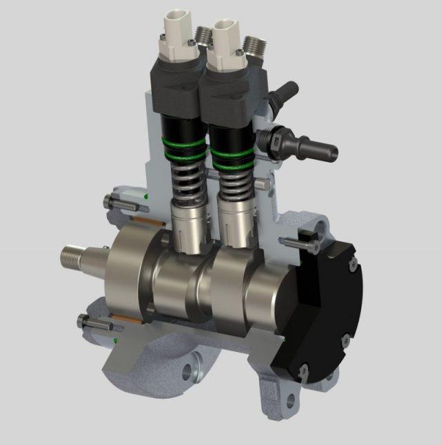 Injector pompă-duza Delphi cu 9 cicluri de injecție pe ciclul motor.
