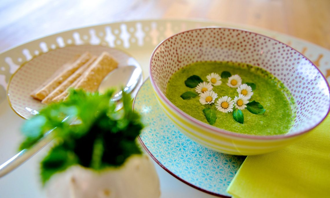 Ein Teller grüne Brennesselsuppe mit Gänseblümchen
