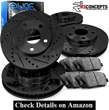 Complete Kit Black Drill Slot Brake Rotors Kit