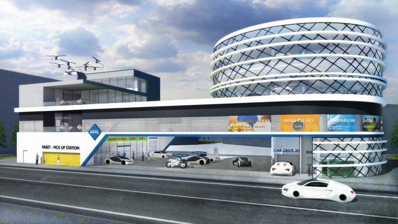 Tankstelle der Zukunft Jahr 2040