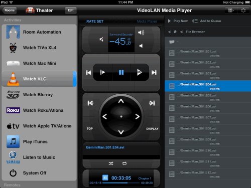 Roomie Remote VLC Control on iPad