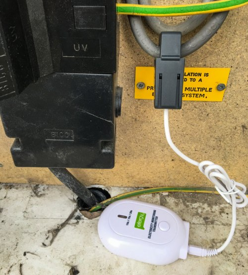 Efergy Clamp Installed in Meter Box