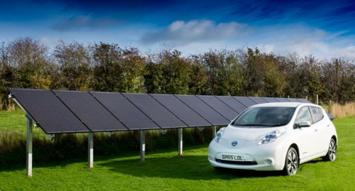Nissan Leaf in front of Ground Mount 4kW Solar Array