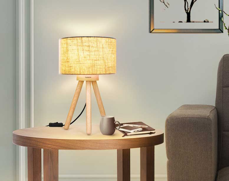 Tomons Rubber Wood Tripod Lamp  - tomons lamp 3 - Tomons Wood Tripod Bedside Lamps Bring Scandi Style Home – Automated Home