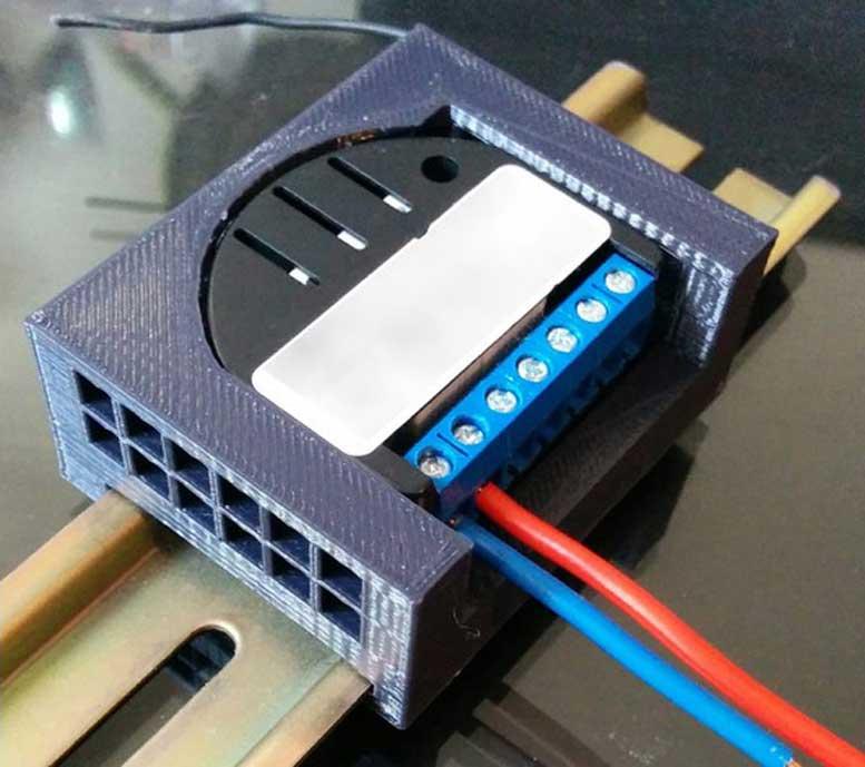 3D Printed Fibaro Z-Wave Module DIN Rail Mount