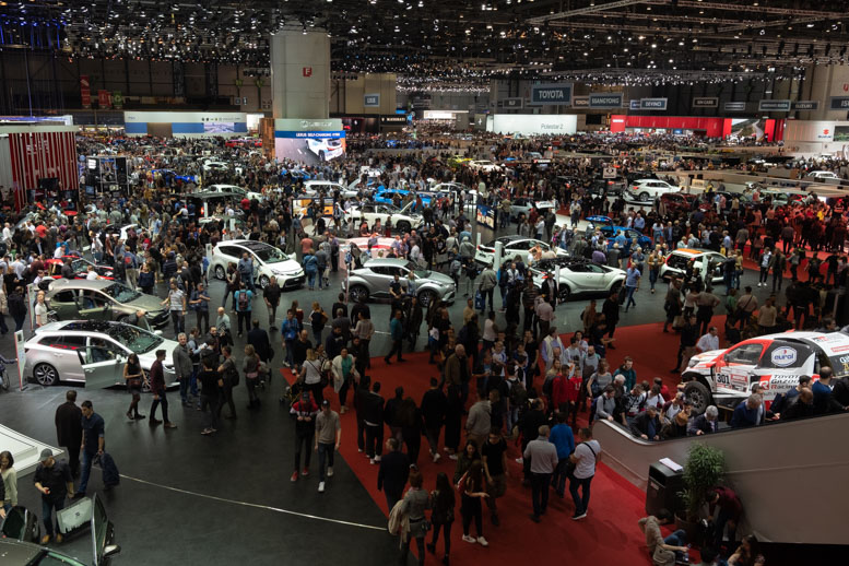 One of the massive halls at the Geneva Motor Show