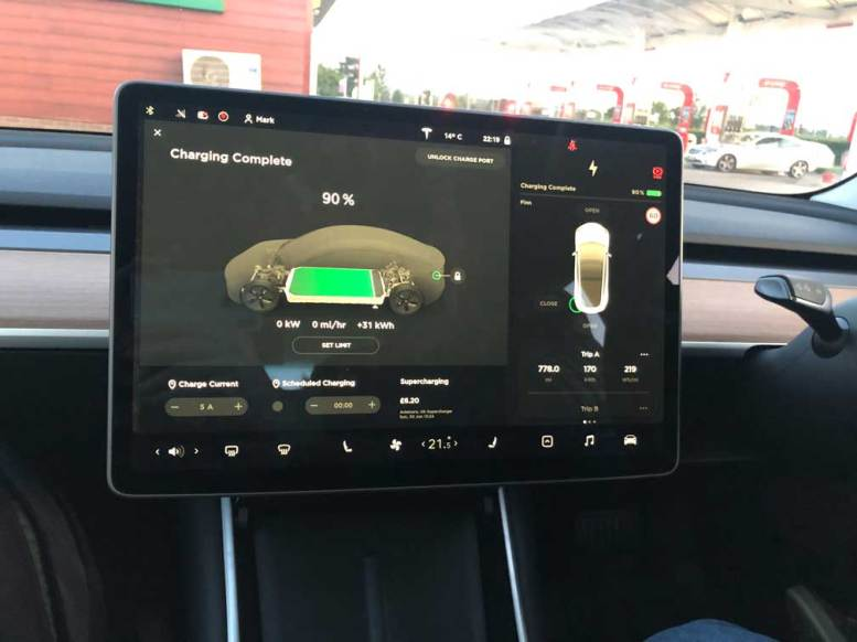 Tesla Model 3 Screen in Dark Night Mode