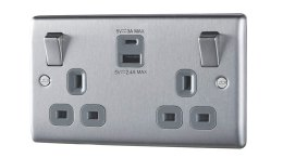 UK Double Socket with USB A and USB C