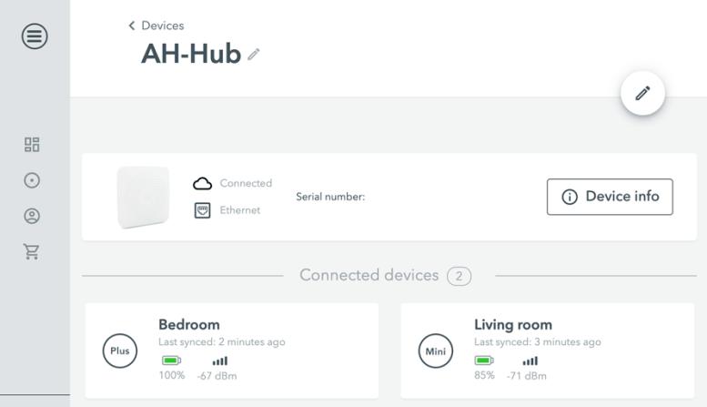 Airthings Hub - Browser Dashboard