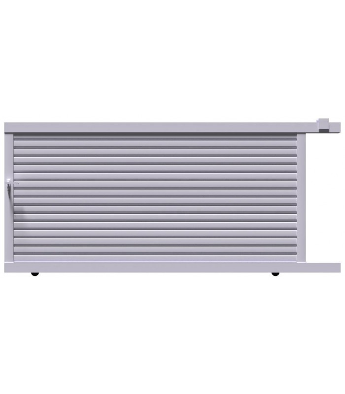 portail coulissant a lames brise vent en aluminium plein forme droite largeur 3000 mm x 1600 mm portugal